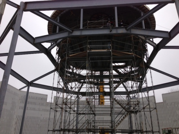 The new dome sits perfectly ready for the next phase of construction.