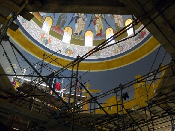 Peeking into the Dome at Holy Trinity.  Can you see Dr Kordis at work?